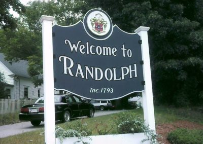 randolph town sign, yankee woodcarvers, plymouth ma